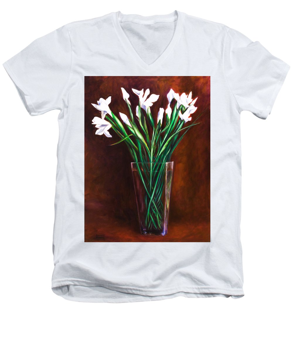 Iris Men's V-Neck T-Shirt featuring the painting Simply Iris by Shannon Grissom