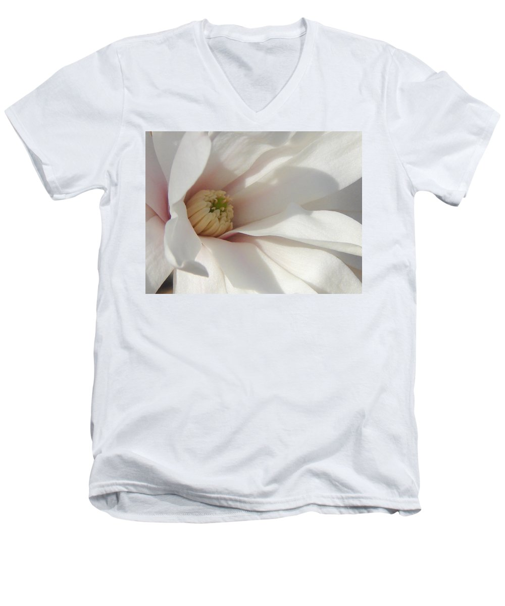 Men's V-Neck T-Shirt featuring the photograph Simply White by Luciana Seymour