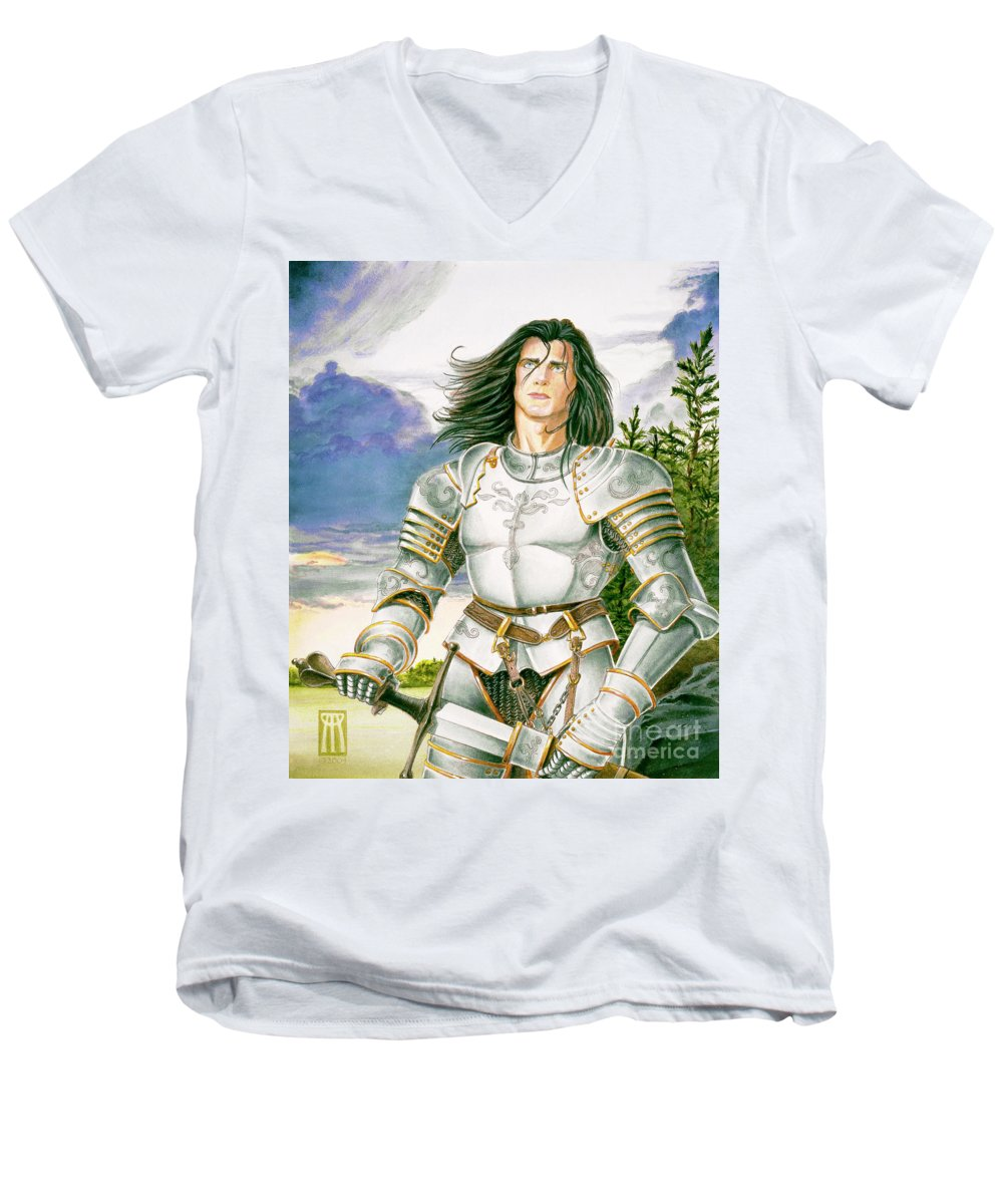 Swords Men's V-Neck T-Shirt featuring the painting Sir Lancelot by Melissa A Benson