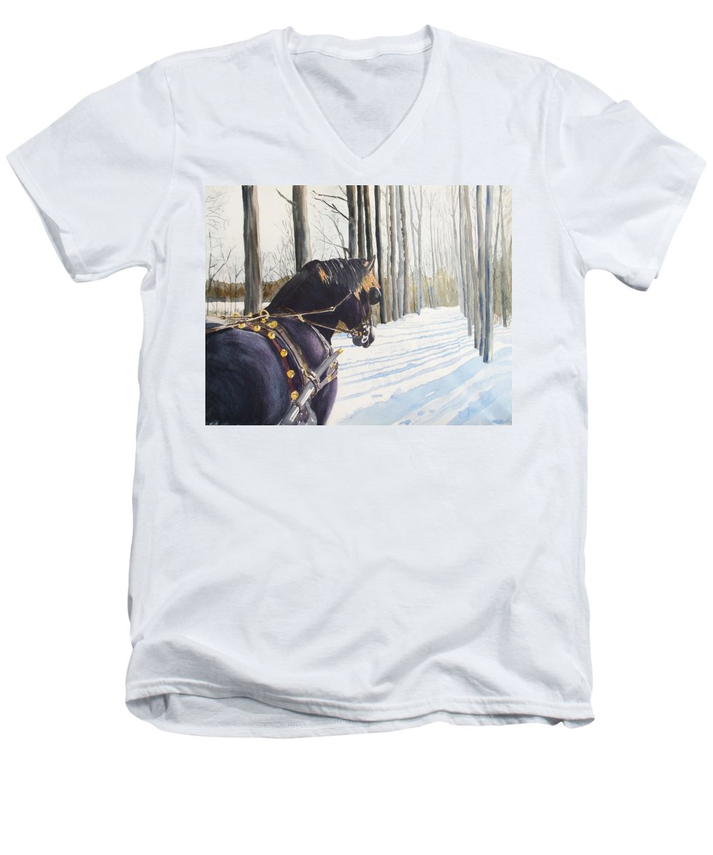 Horse Men's V-Neck T-Shirt featuring the painting Sleigh Bells by Ally Benbrook