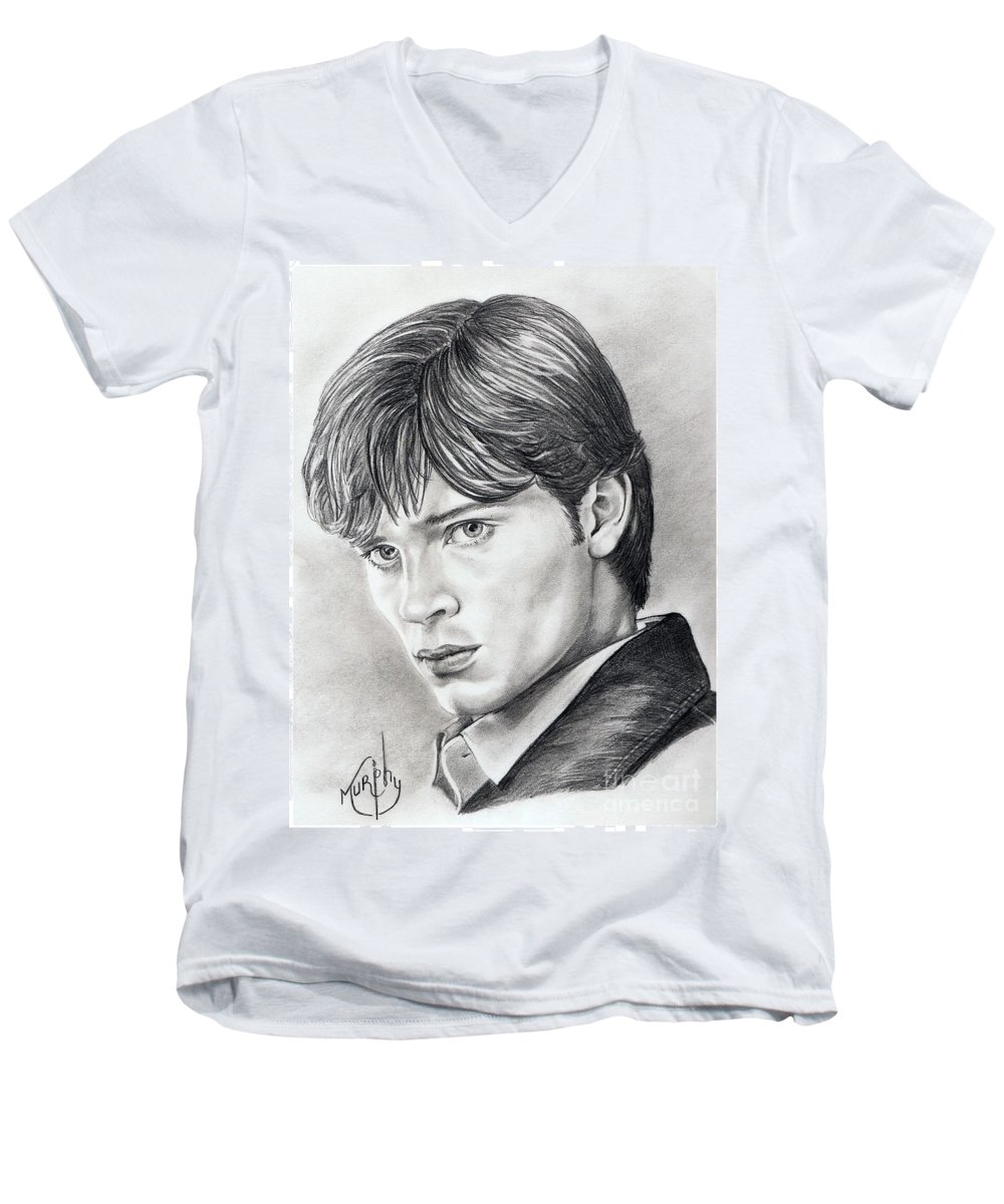 Superman Men's V-Neck T-Shirt featuring the drawing Smallville Tom Welling by Murphy Elliott