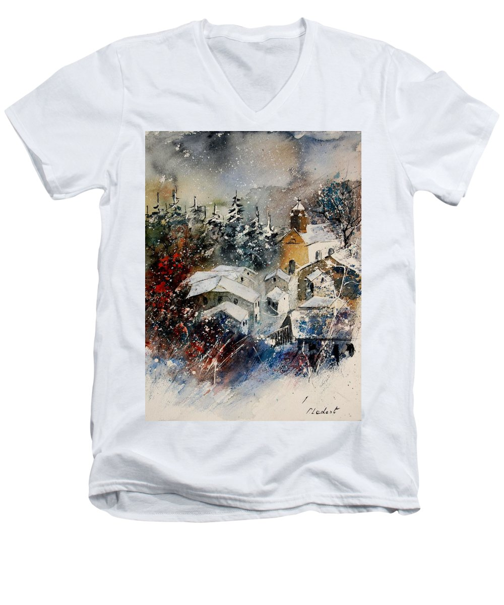 Landscape Men's V-Neck T-Shirt featuring the painting Snon In Frahan by Pol Ledent
