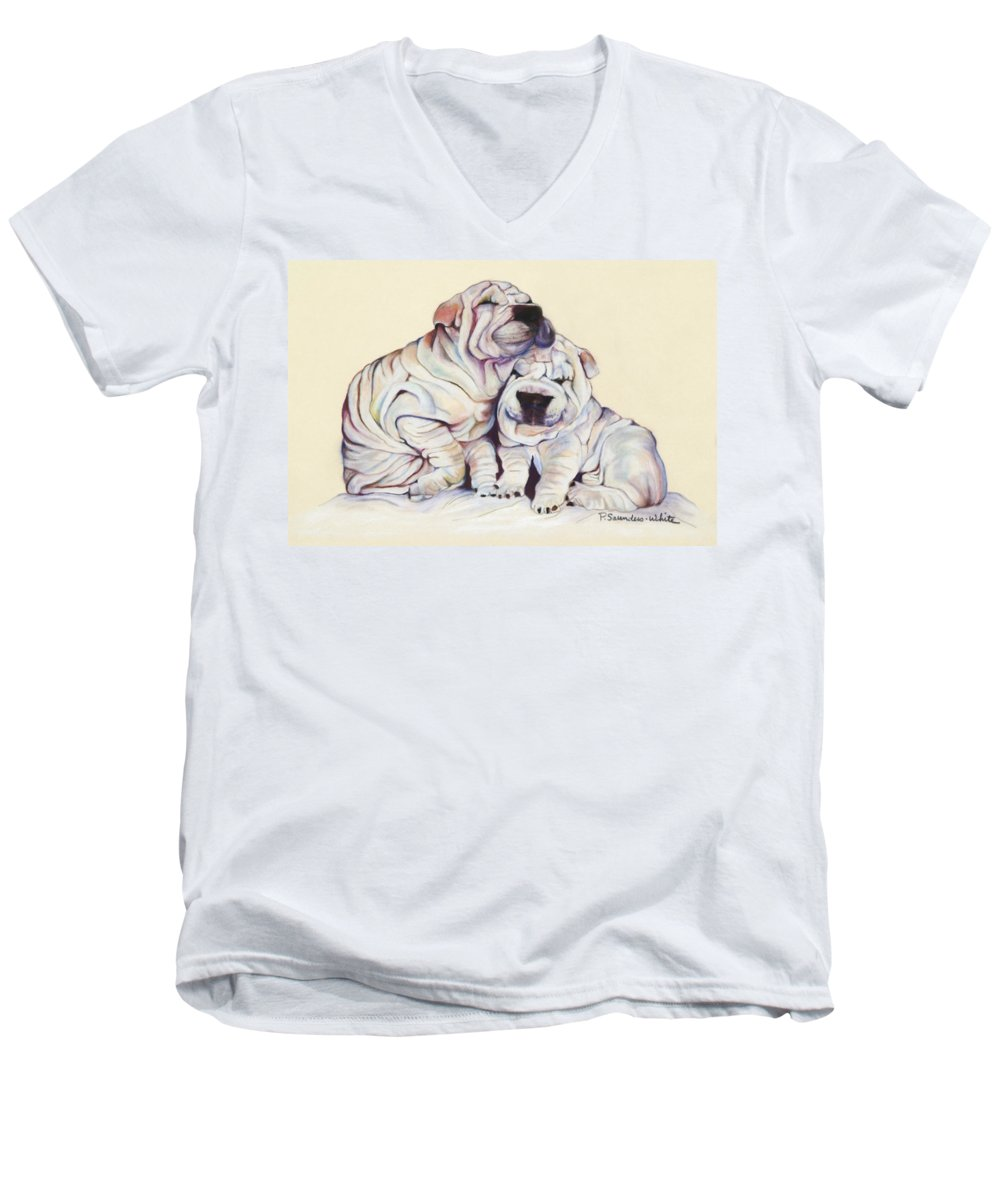 Dog Painting Men's V-Neck T-Shirt featuring the pastel Snuggles by Pat Saunders-White
