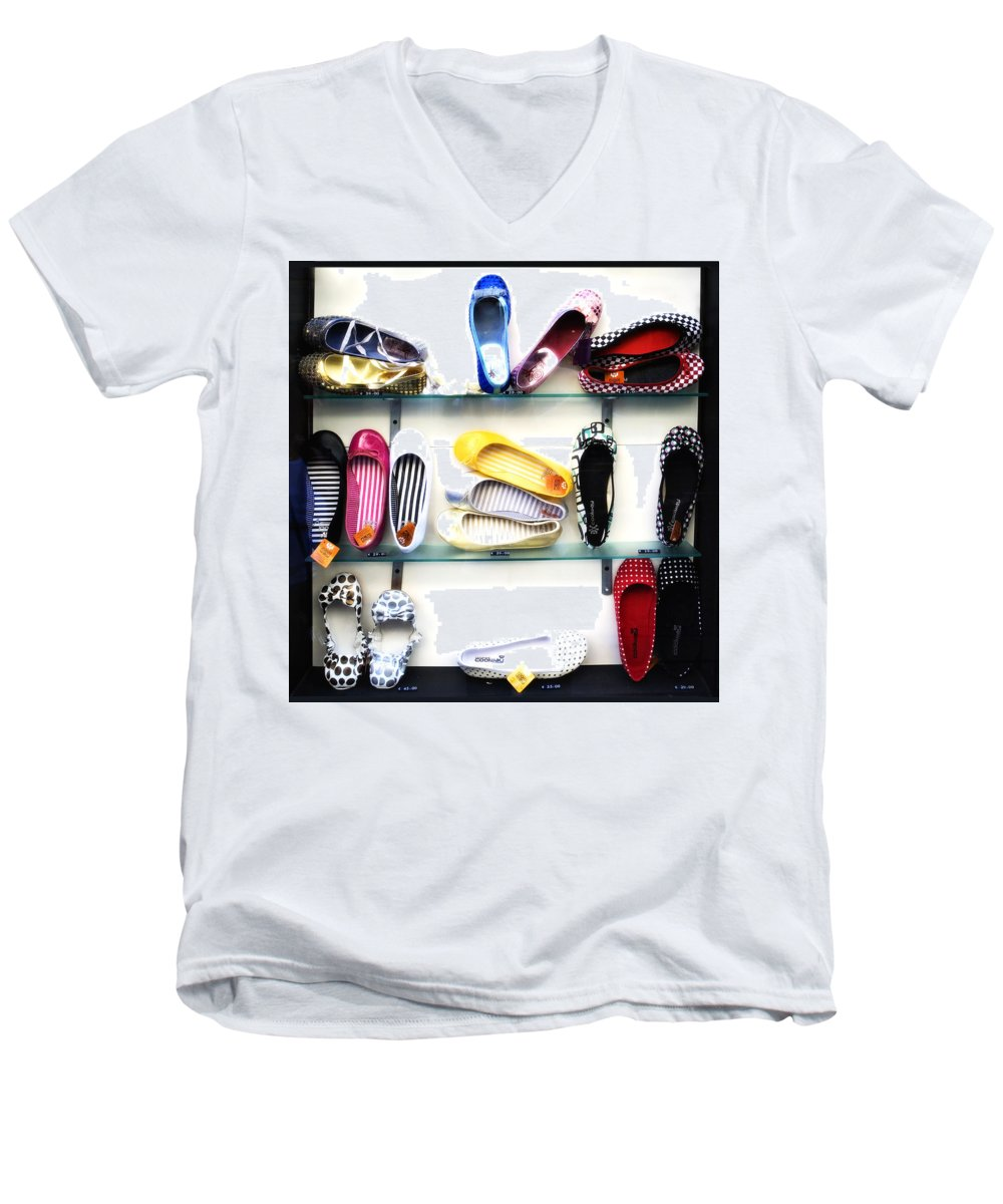 Shoes Men's V-Neck T-Shirt featuring the photograph So Many Shoes... by Marilyn Hunt