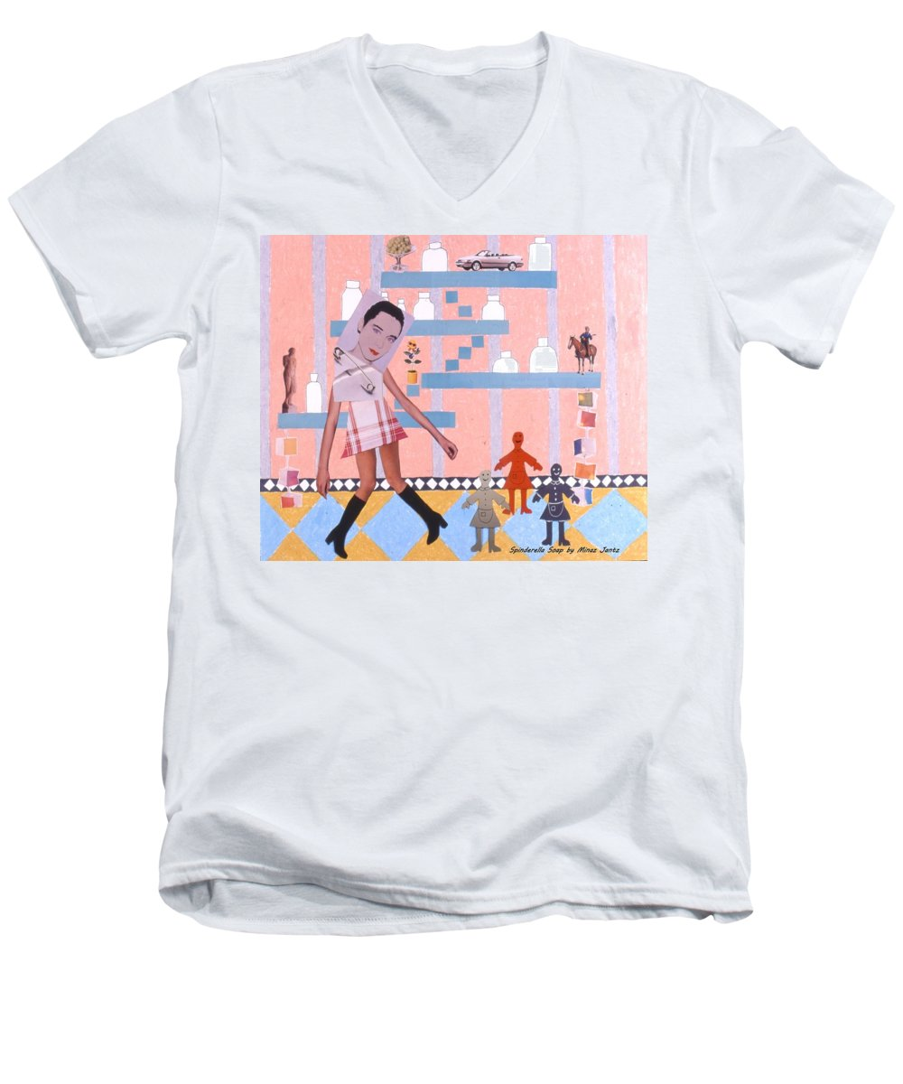 Cowboy Men's V-Neck T-Shirt featuring the drawing Soap Scene #16 Miracle Maids by Minaz Jantz