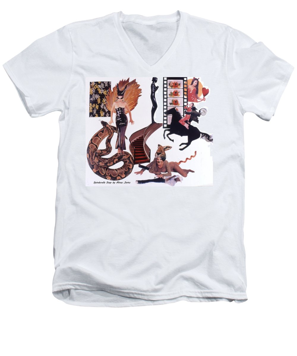 Boa Men's V-Neck T-Shirt featuring the drawing Soap Scene #22 Lust In The Wind by Minaz Jantz