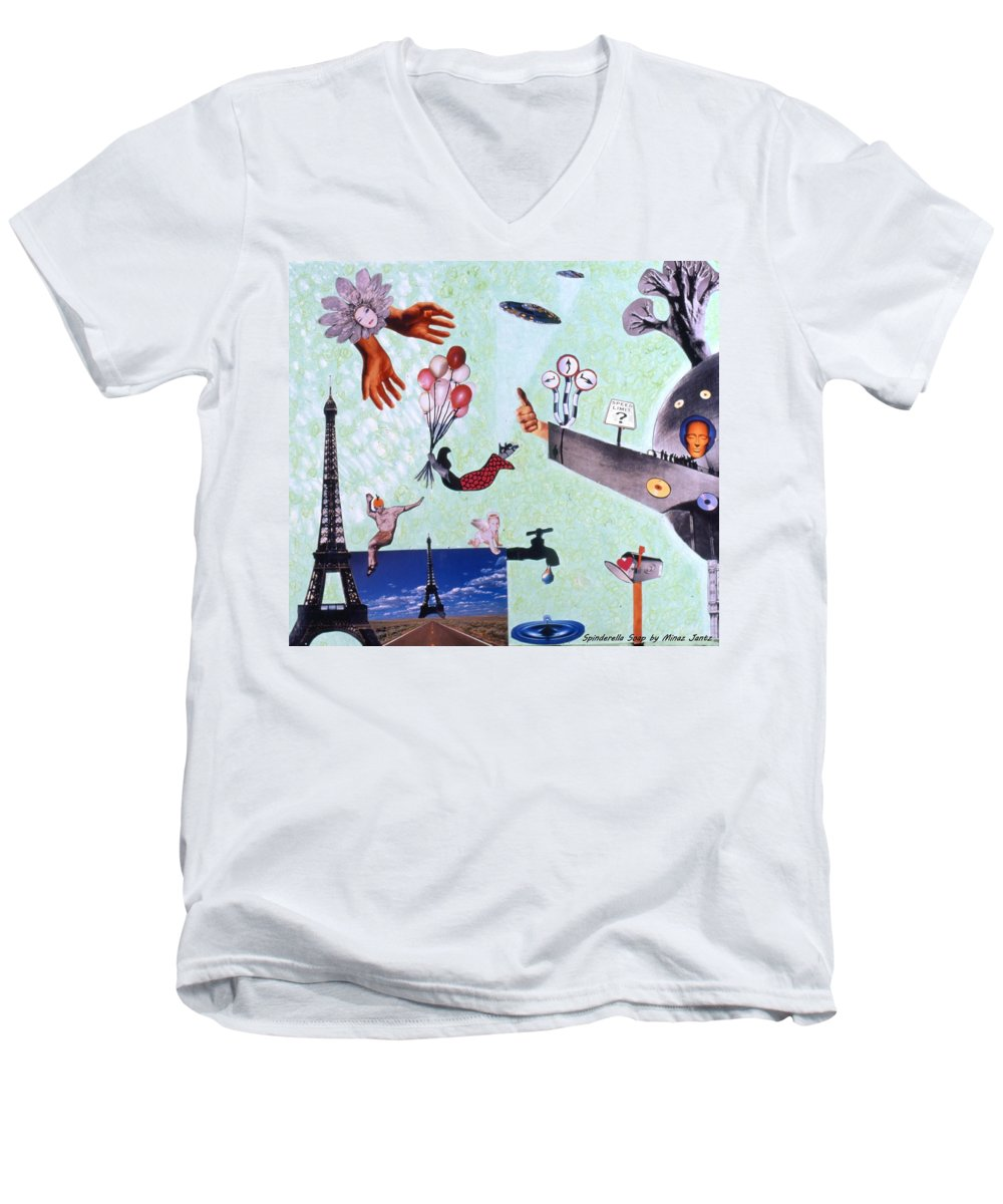 Eiffel Tower Men's V-Neck T-Shirt featuring the drawing Soap Scene #27 Zelestial Headquarters by Minaz Jantz