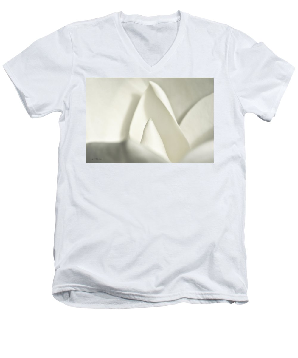 Magnolia Men's V-Neck T-Shirt featuring the photograph Soft Magnolia by Christopher Holmes