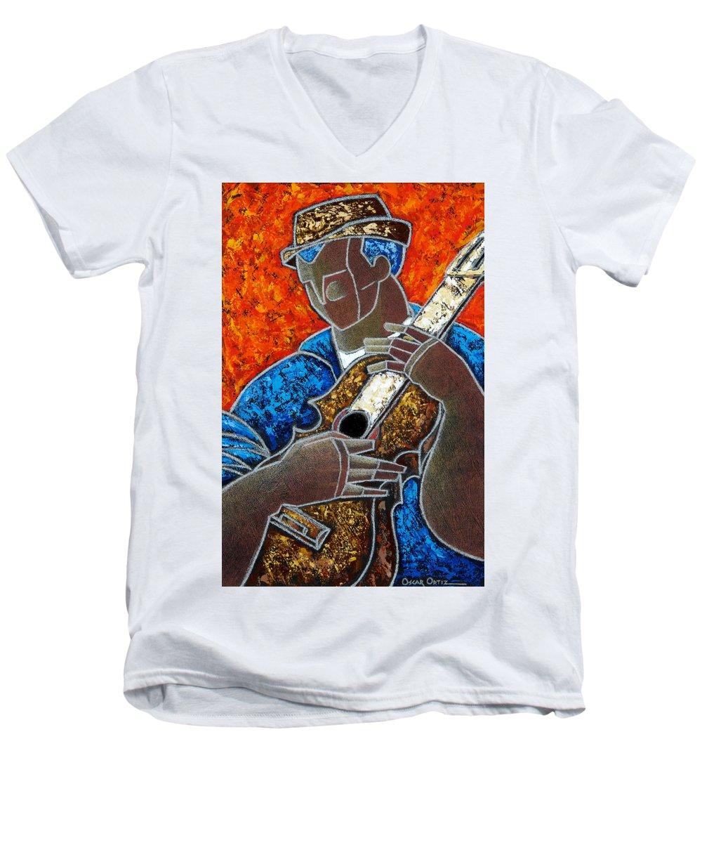 Puerto Rico Men's V-Neck T-Shirt featuring the painting Solo De Cuatro by Oscar Ortiz
