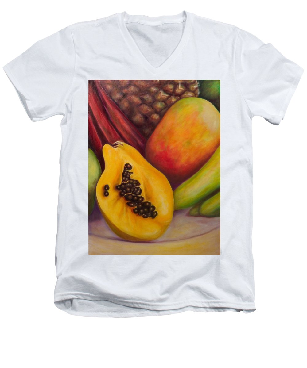 Tropical Fruit Still Life: Mangoes Men's V-Neck T-Shirt featuring the painting Solo by Shannon Grissom