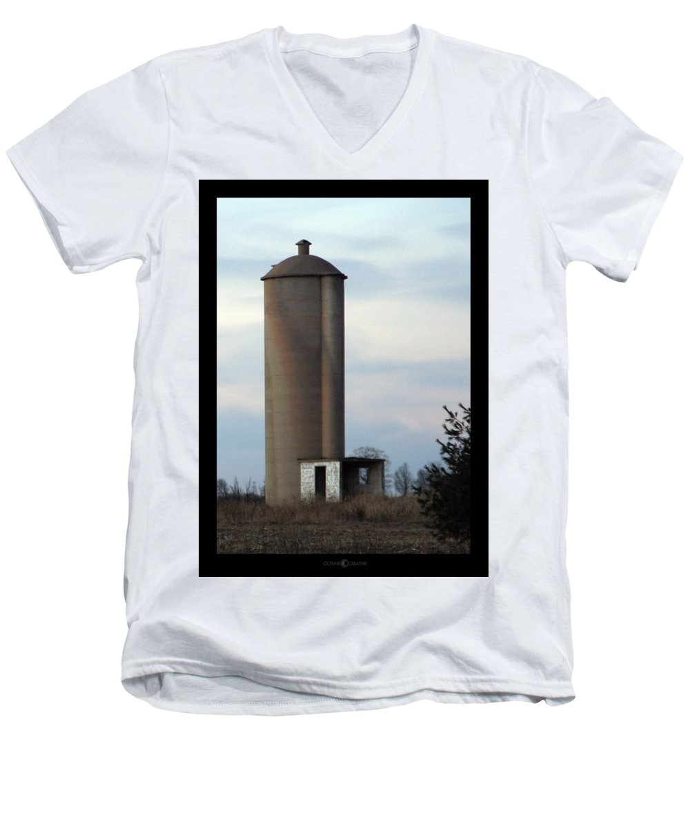 Silo Men's V-Neck T-Shirt featuring the photograph Solo Silo by Tim Nyberg
