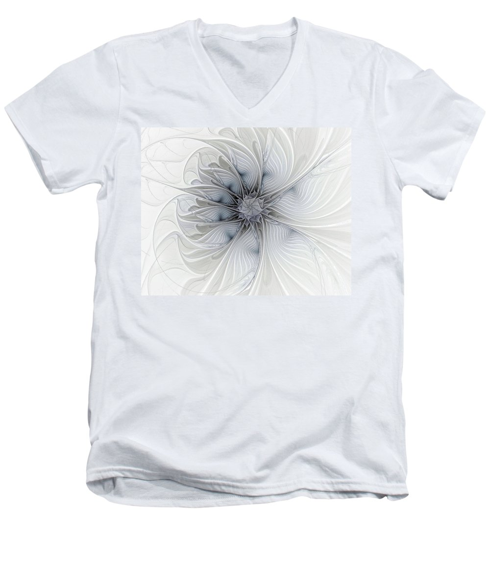Digital Art Men's V-Neck T-Shirt featuring the digital art Something Blue by Amanda Moore
