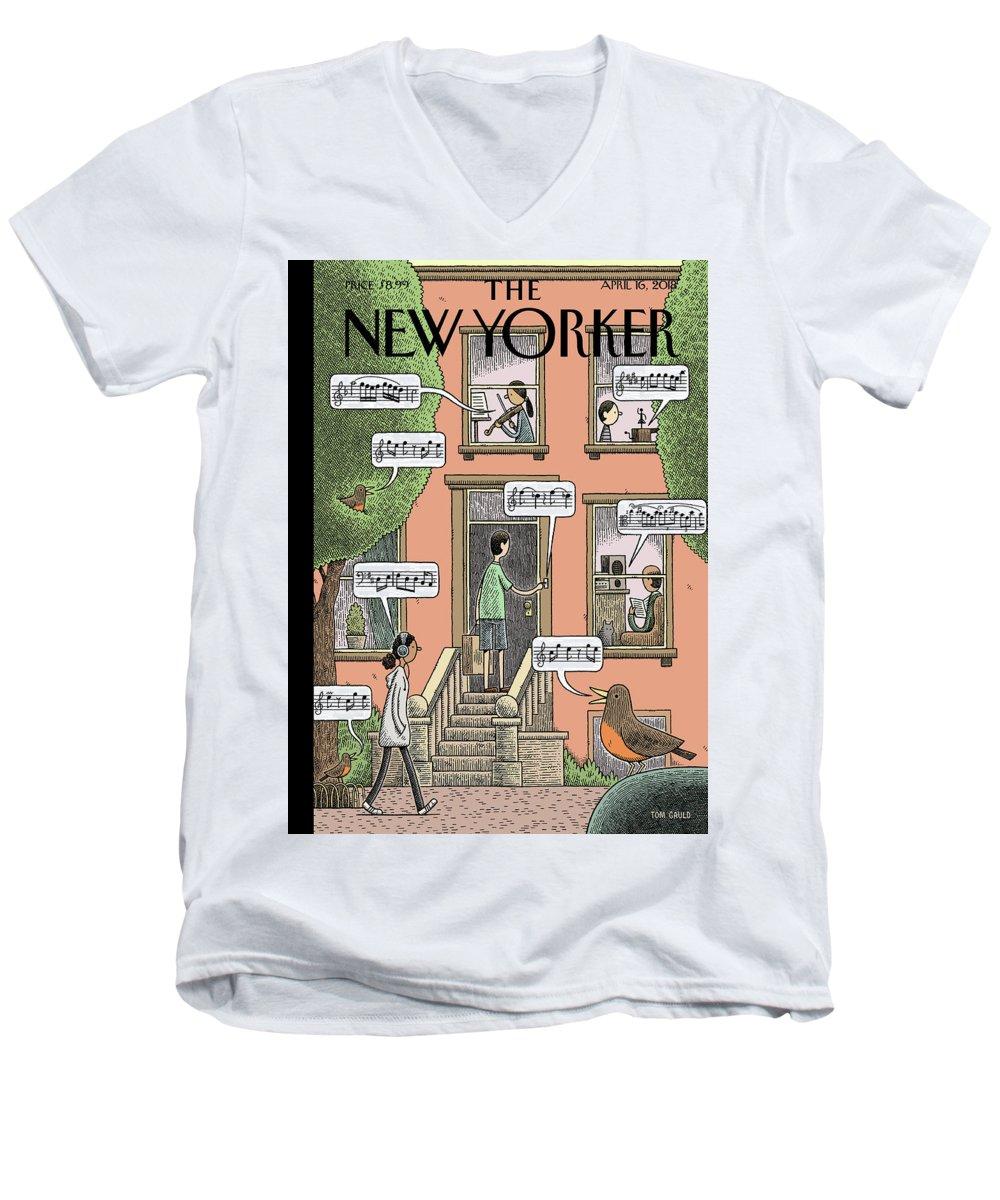 Soundtrack To Spring Men's V-Neck T-Shirt featuring the painting Soundtrack to Spring by Tom Gauld