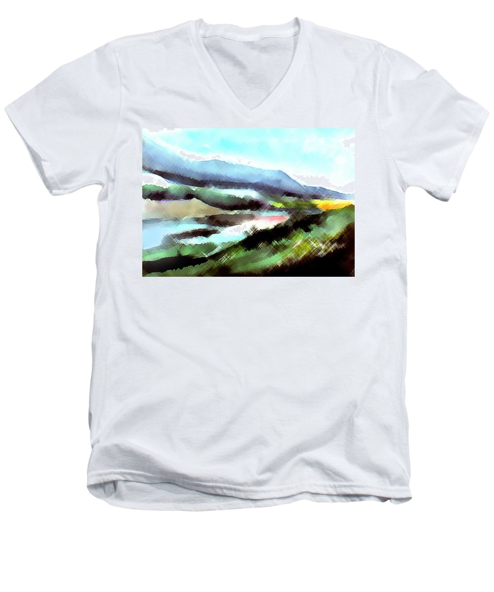 Digital Art Men's V-Neck T-Shirt featuring the painting Sparkling by Anil Nene