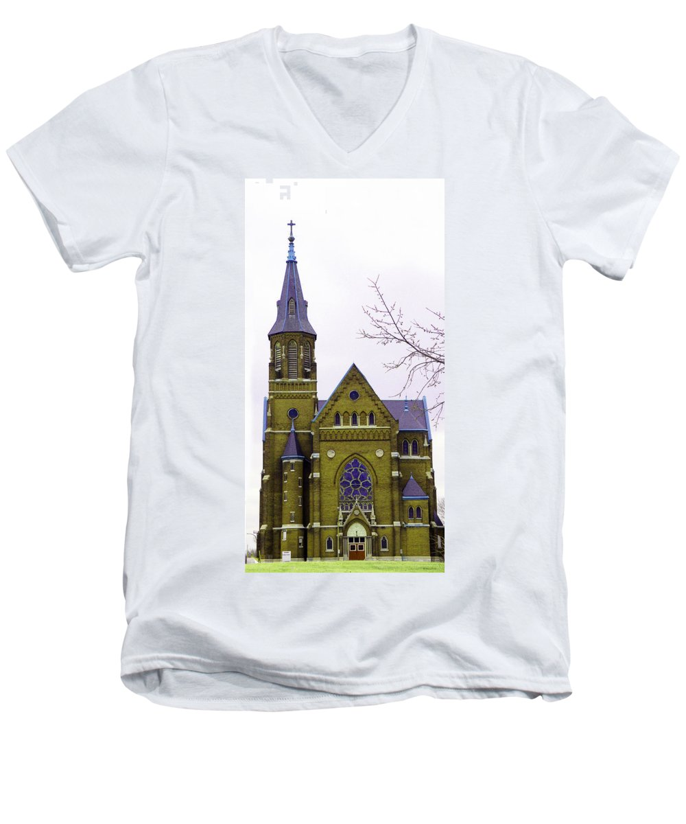 Spire Men's V-Neck T-Shirt featuring the photograph Spire by Albert Stewart