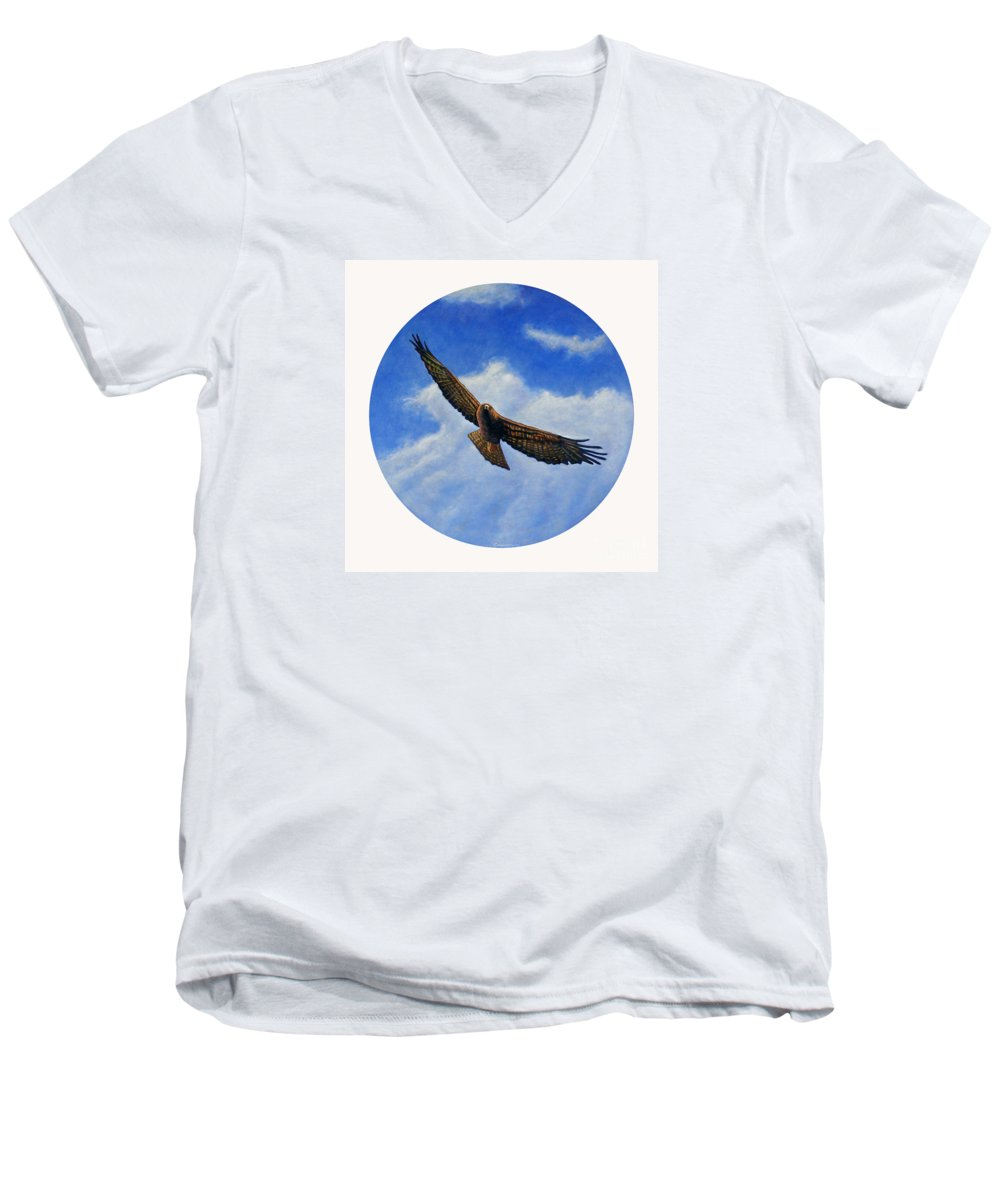 Hawk Men's V-Neck T-Shirt featuring the painting Spirit In The Wind by Brian Commerford