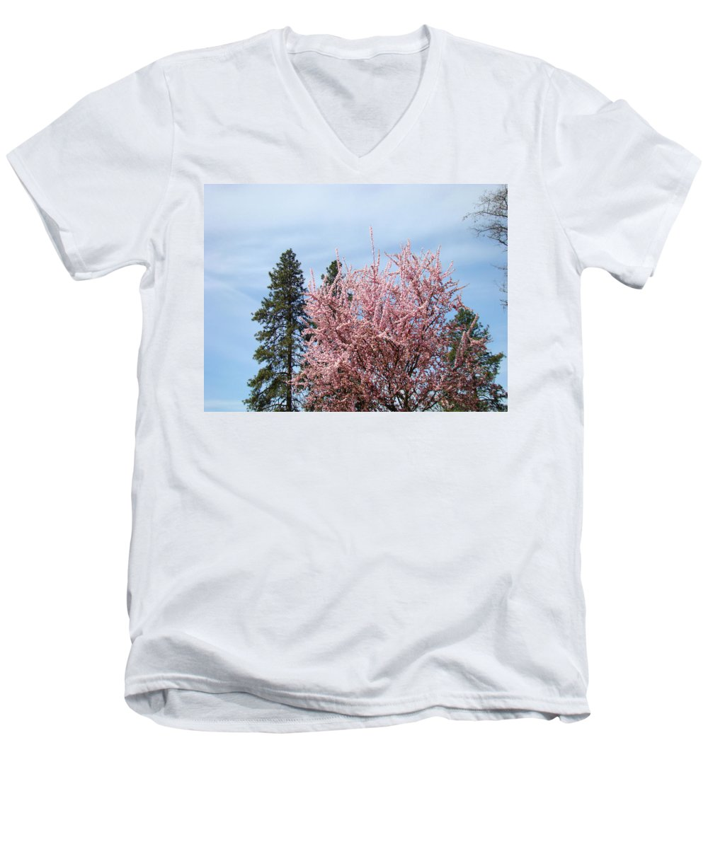 Trees Men's V-Neck T-Shirt featuring the photograph Spring Trees Bossoming Landscape Art Prints Pink Blossoms Clouds Sky by Baslee Troutman