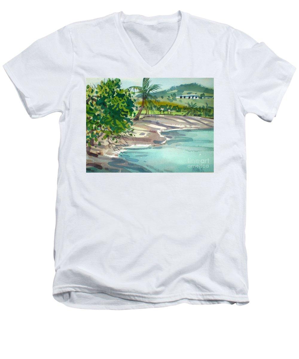 St. Croix Men's V-Neck T-Shirt featuring the painting St. Croix Beach by Donald Maier