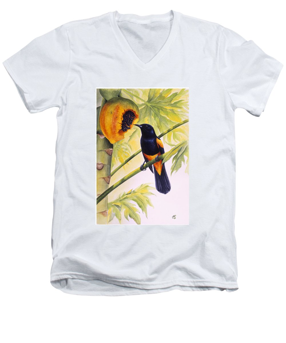 Chris Cox Men's V-Neck T-Shirt featuring the painting St. Lucia Oriole And Papaya by Christopher Cox
