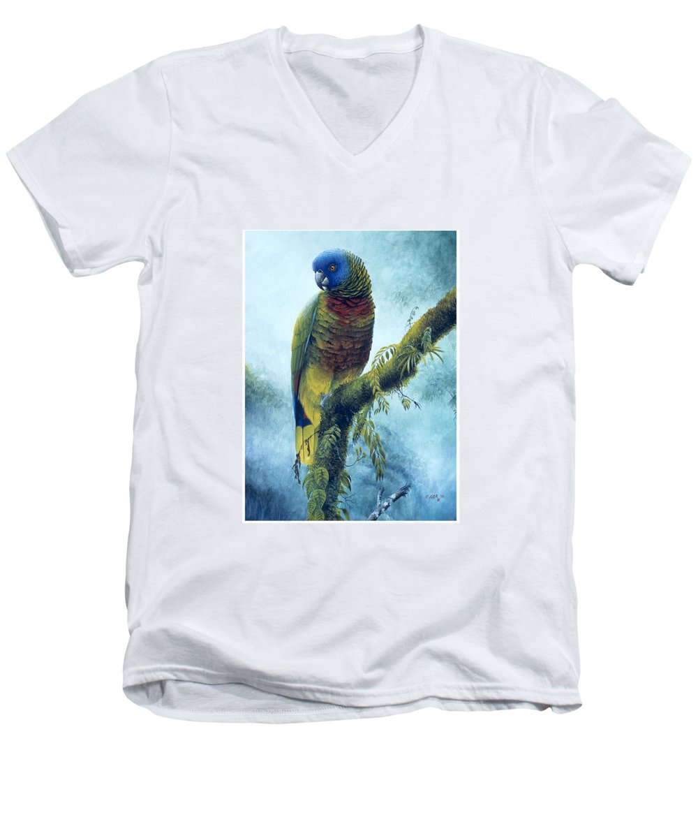 Chris Cox Men's V-Neck T-Shirt featuring the painting St. Lucia Parrot - Majestic by Christopher Cox