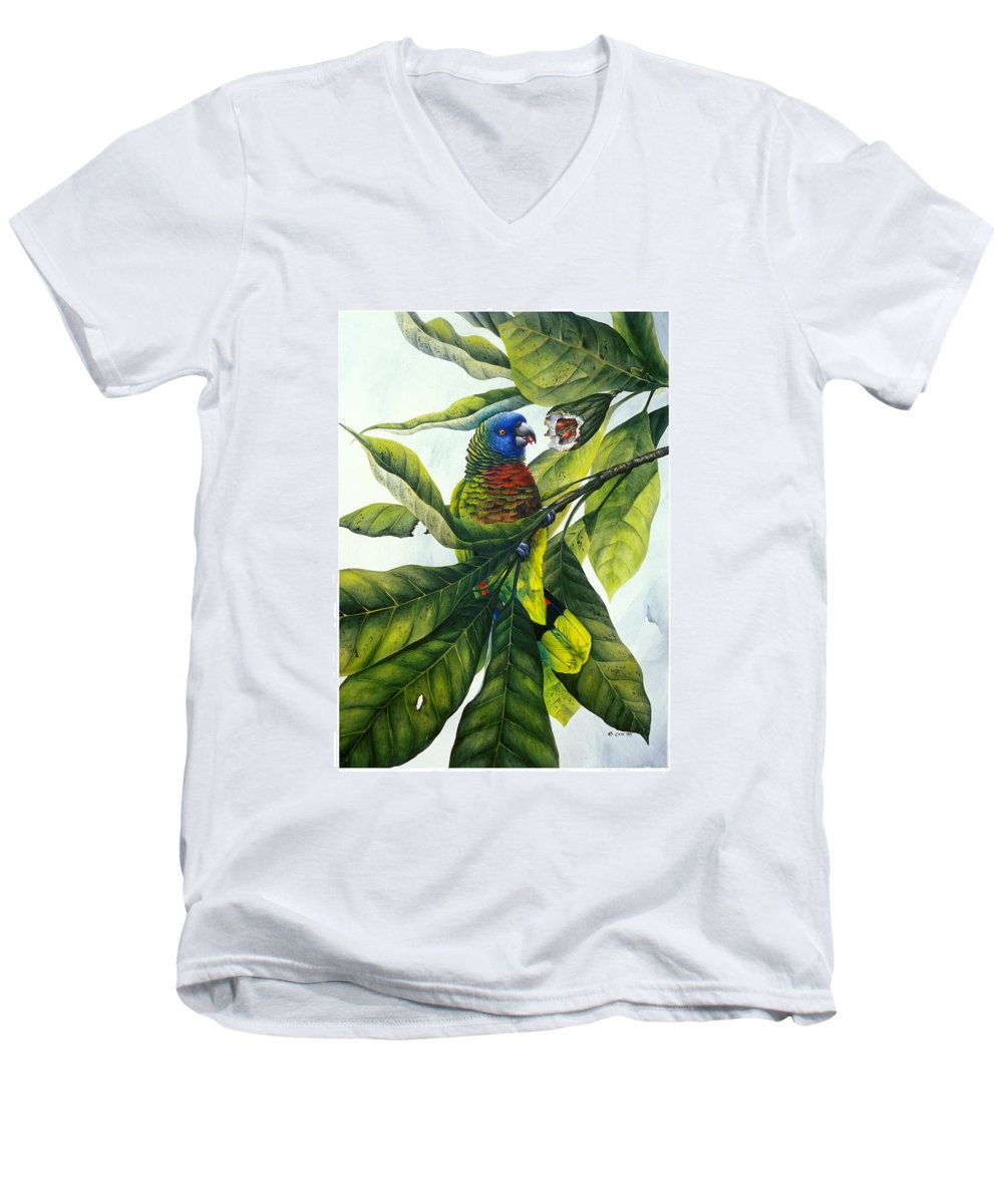 Chris Cox Men's V-Neck T-Shirt featuring the painting St. Lucia Parrot And Fruit by Christopher Cox