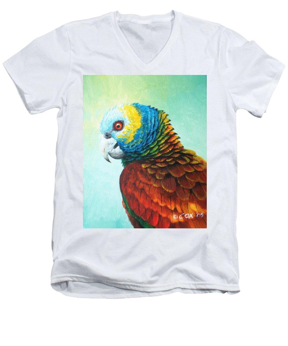 Chris Cox Men's V-Neck T-Shirt featuring the painting St. Vincent Parrot by Christopher Cox
