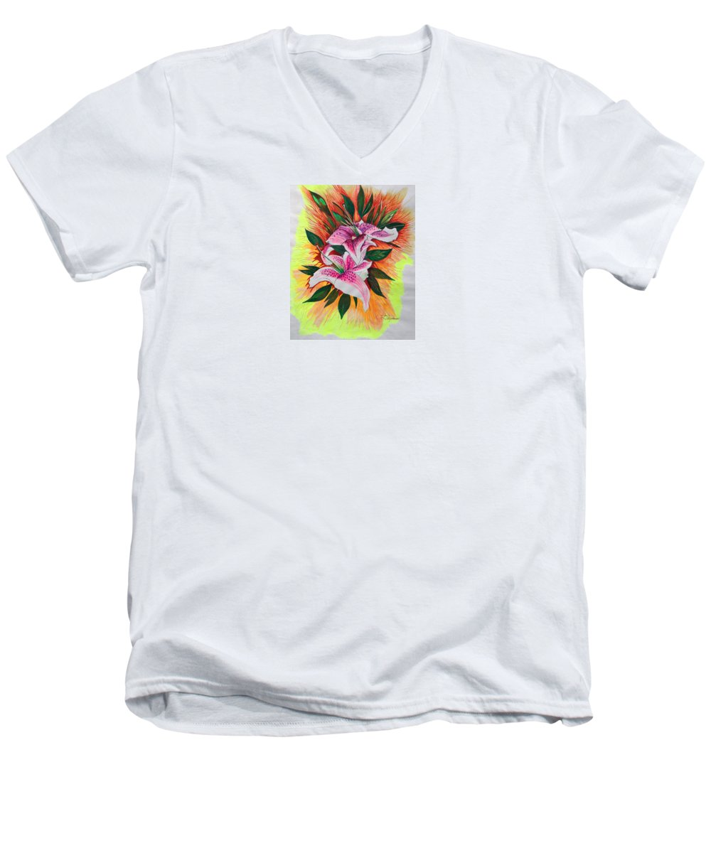 Flowers Men's V-Neck T-Shirt featuring the drawing Stargazers by J R Seymour