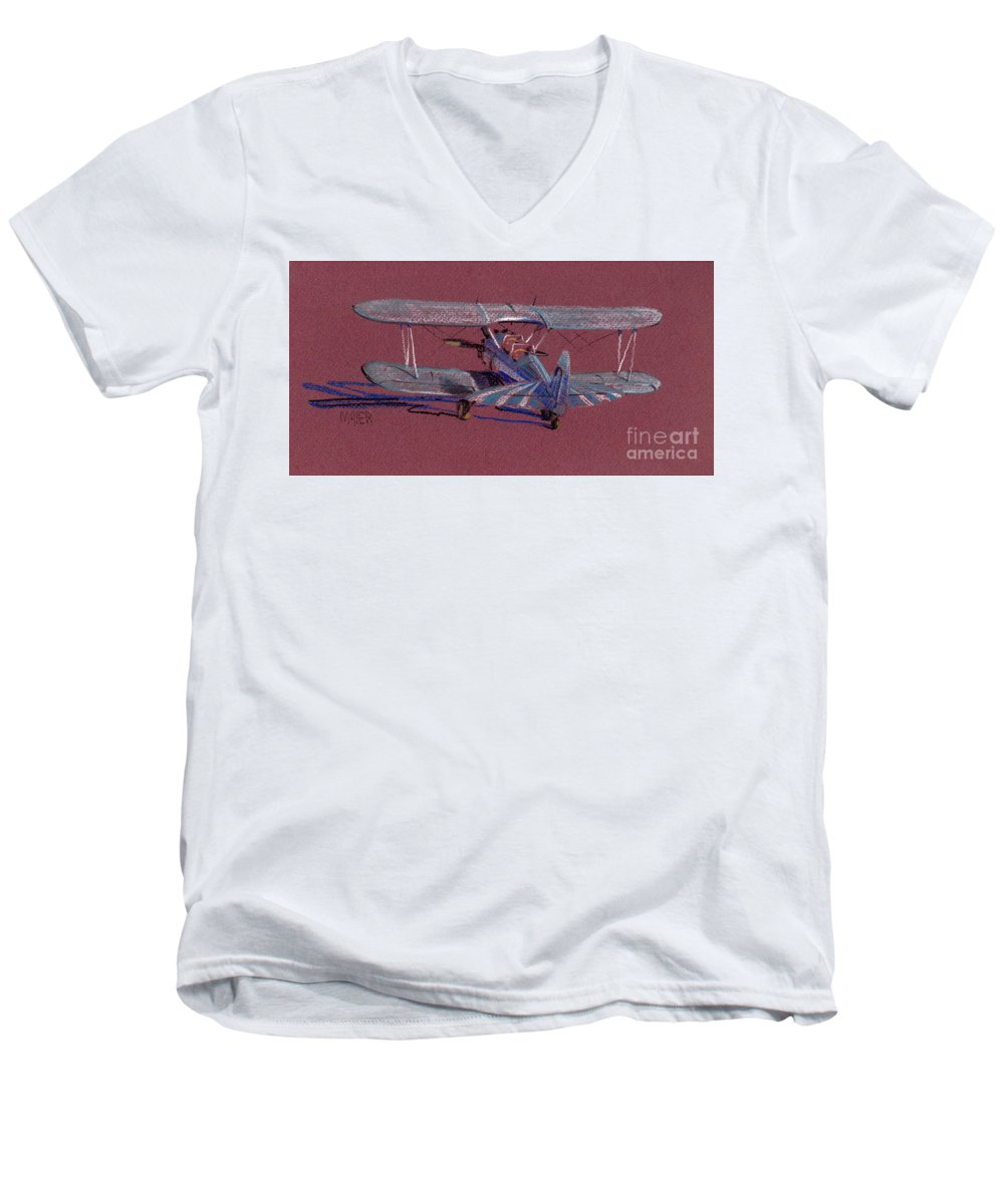 Steerman Biplane Men's V-Neck T-Shirt featuring the drawing Steerman Biplane by Donald Maier