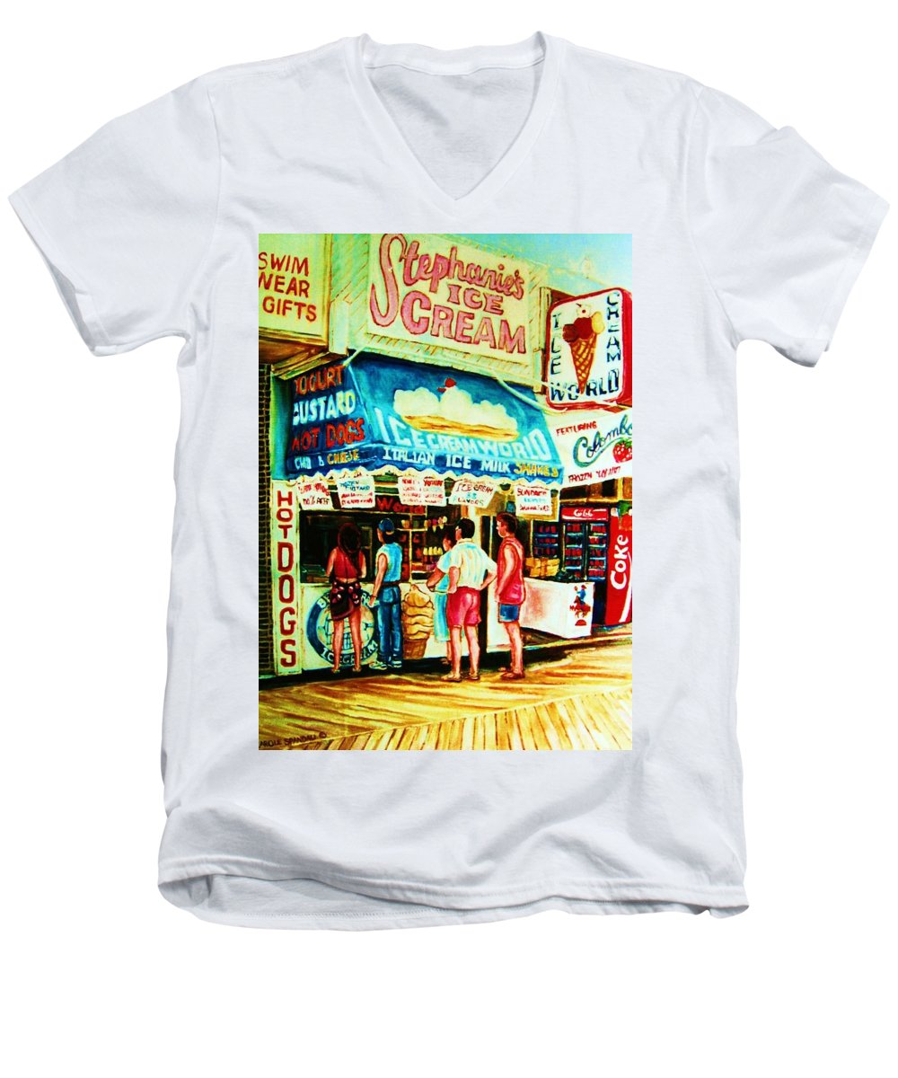 Children Men's V-Neck T-Shirt featuring the painting Stephanies Icecream Stand by Carole Spandau
