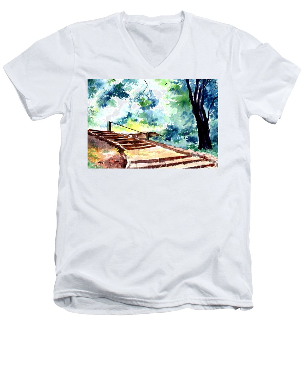 Landscape Men's V-Neck T-Shirt featuring the painting Steps To Eternity by Anil Nene