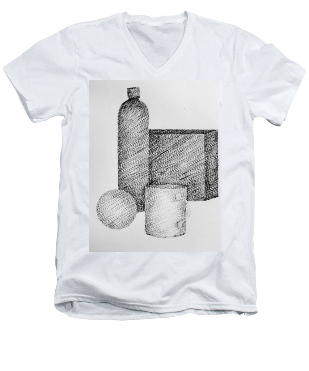 Still Life Men's V-Neck T-Shirt featuring the drawing Still Life With Cup Bottle And Shapes by Michelle Calkins