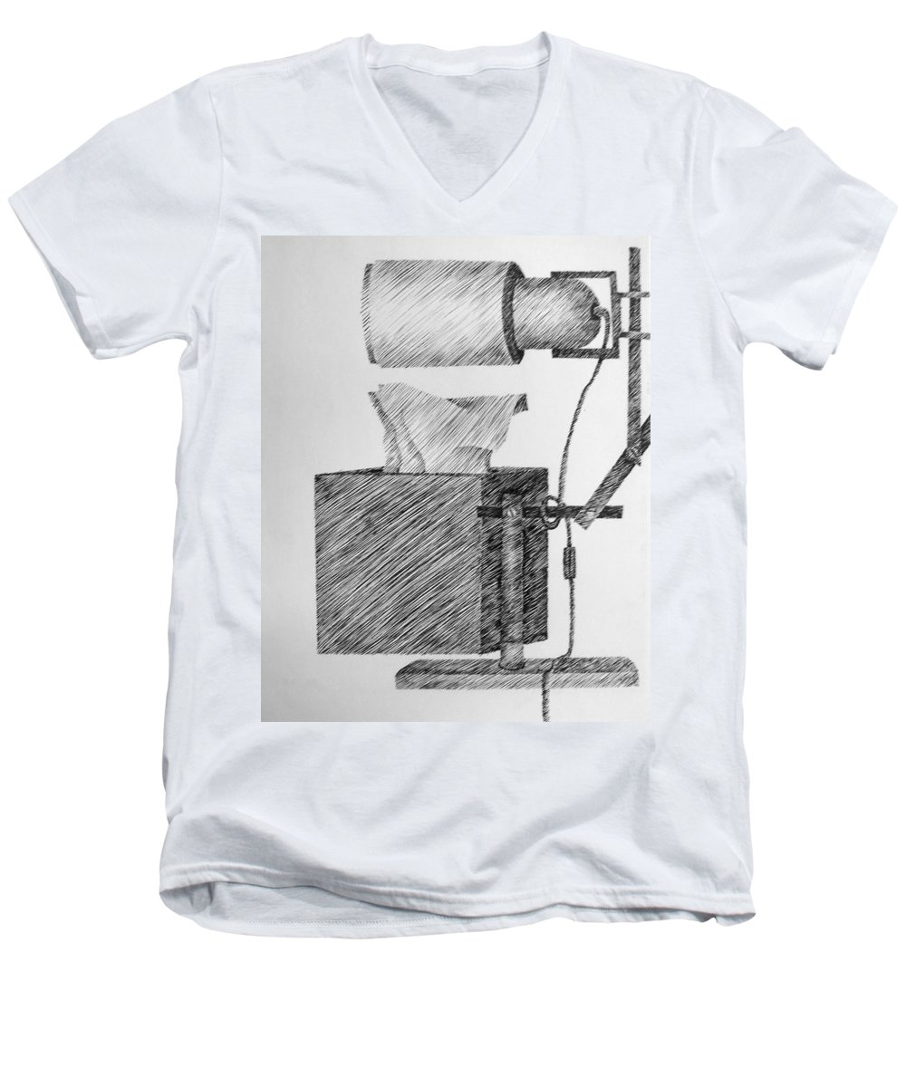 Still Life Men's V-Neck T-Shirt featuring the drawing Still Life With Lamp And Tissues by Michelle Calkins