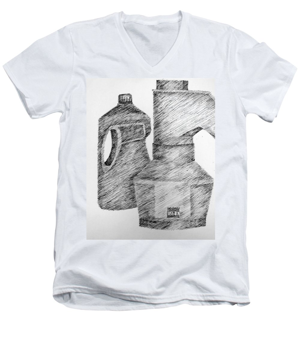 Still Life Men's V-Neck T-Shirt featuring the drawing Still Life With Popcorn Maker And Laundry Soap Bottle by Michelle Calkins