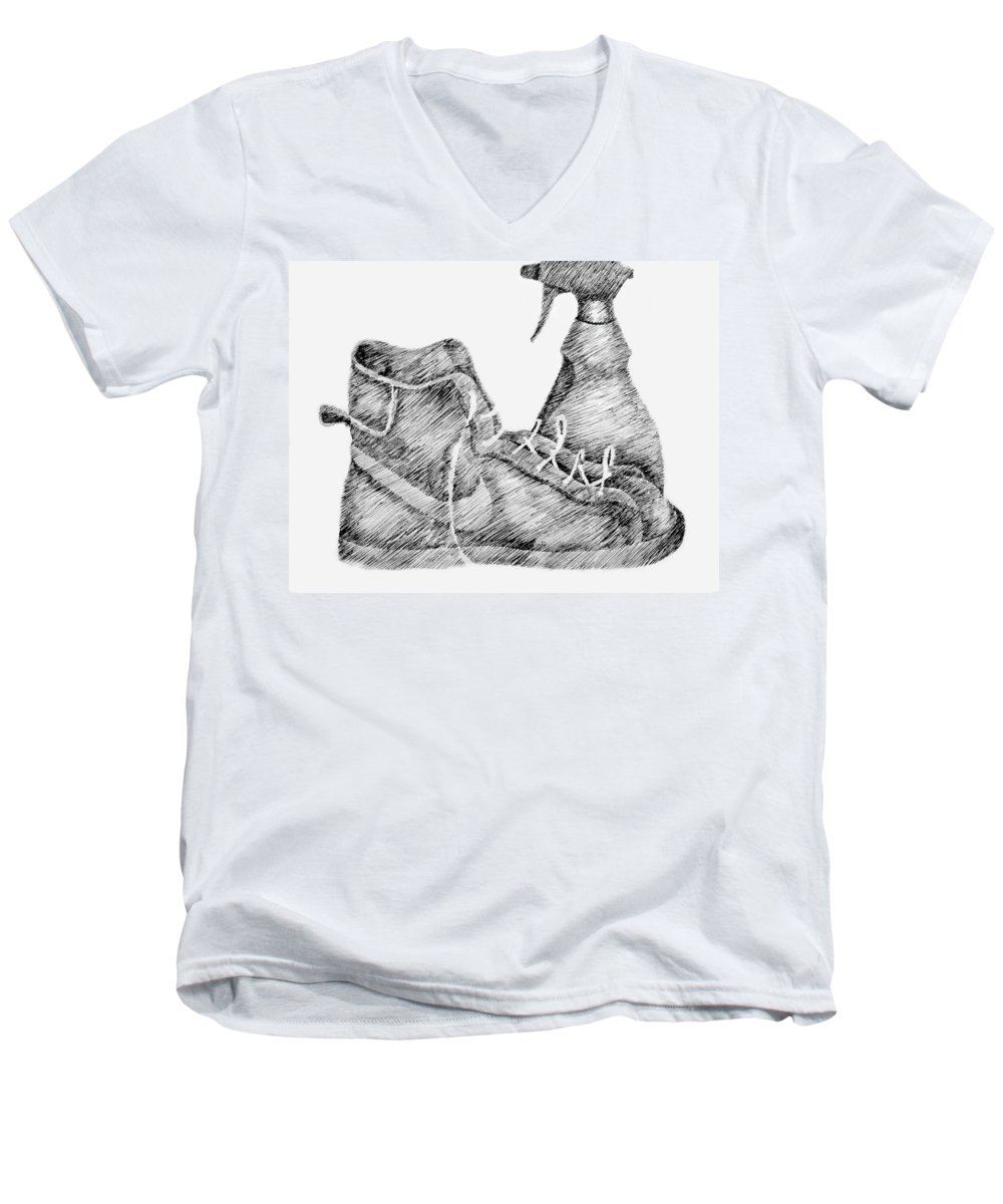 Pen Men's V-Neck T-Shirt featuring the drawing Still Life With Shoe And Spray Bottle by Michelle Calkins