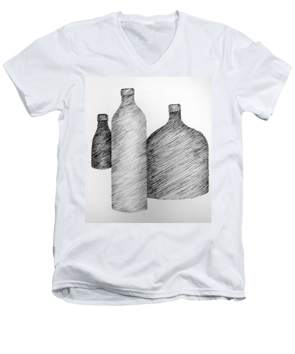 Still Life Men's V-Neck T-Shirt featuring the drawing Still Life With Three Bottles by Michelle Calkins