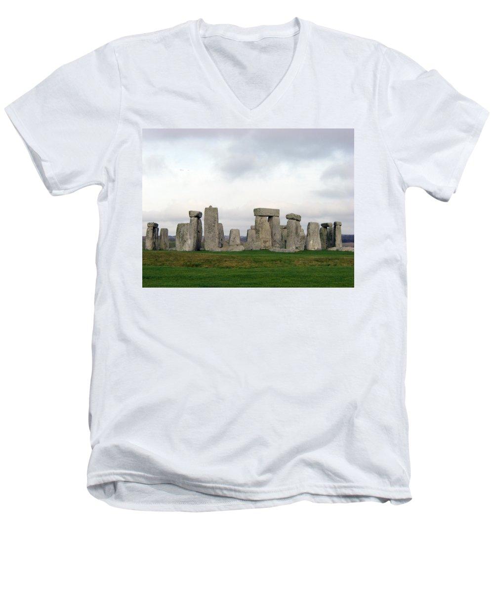 Stonehenge Men's V-Neck T-Shirt featuring the photograph Stonehenge by Amanda Barcon