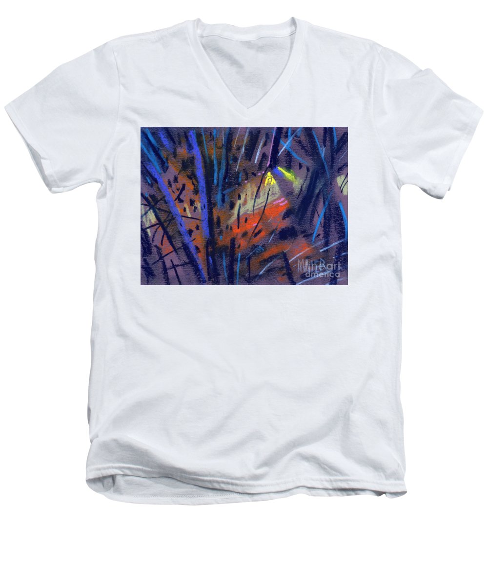 Abstract Men's V-Neck T-Shirt featuring the drawing strange Lights by Donald Maier