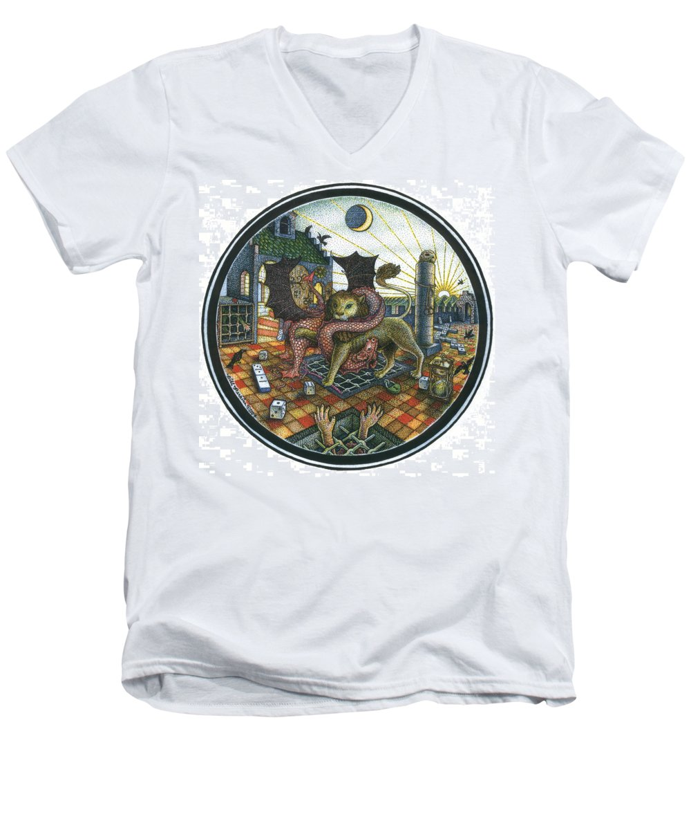 Dragon Men's V-Neck T-Shirt featuring the drawing Strange Reverie by Bill Perkins