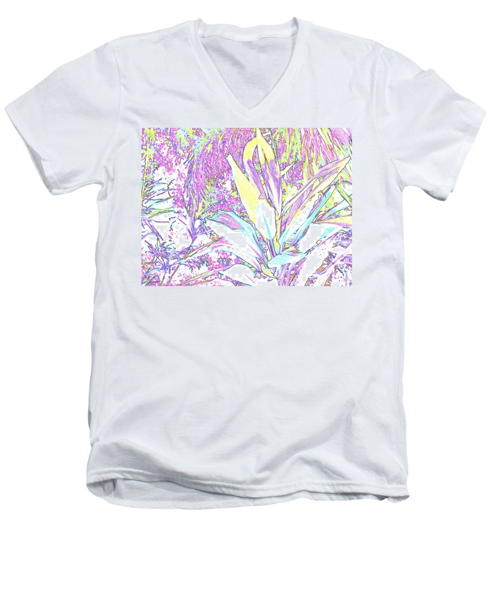Abstract Men's V-Neck T-Shirt featuring the photograph Subtle Leaf by Ian MacDonald