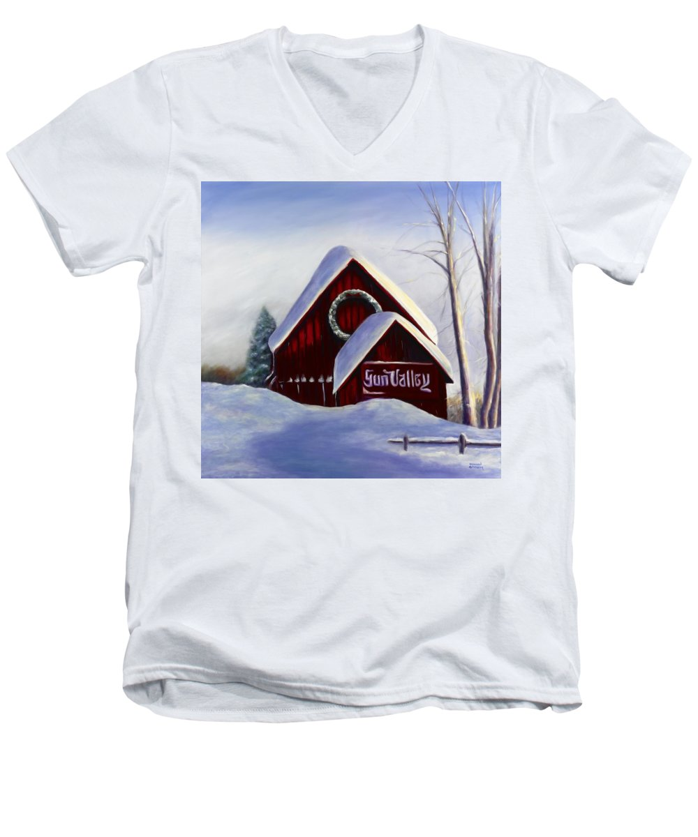 Landscape Men's V-Neck T-Shirt featuring the painting Sun Valley 3 by Shannon Grissom