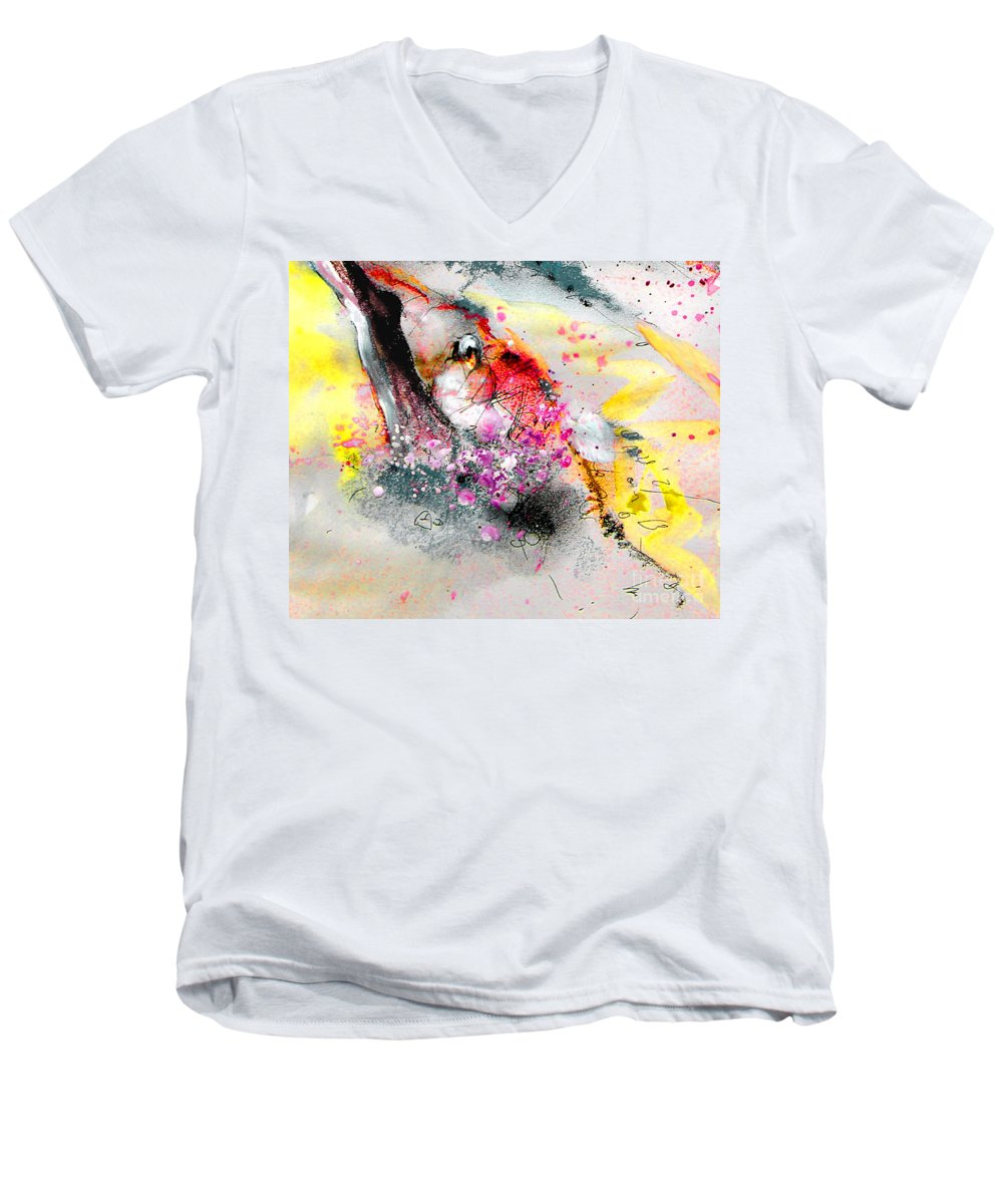 Pastel Painting Men's V-Neck T-Shirt featuring the painting Sunday By The Tree by Miki De Goodaboom