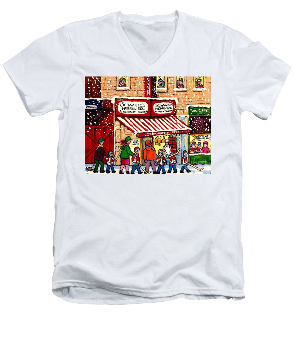 Montreal Men's V-Neck T-Shirt featuring the painting Sunday Lineup At The Deli by Carole Spandau