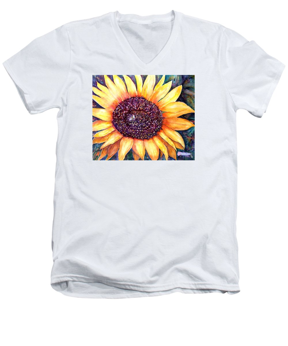 Sunflower Men's V-Neck T-Shirt featuring the painting Sunflower Of Georgia by Norma Boeckler