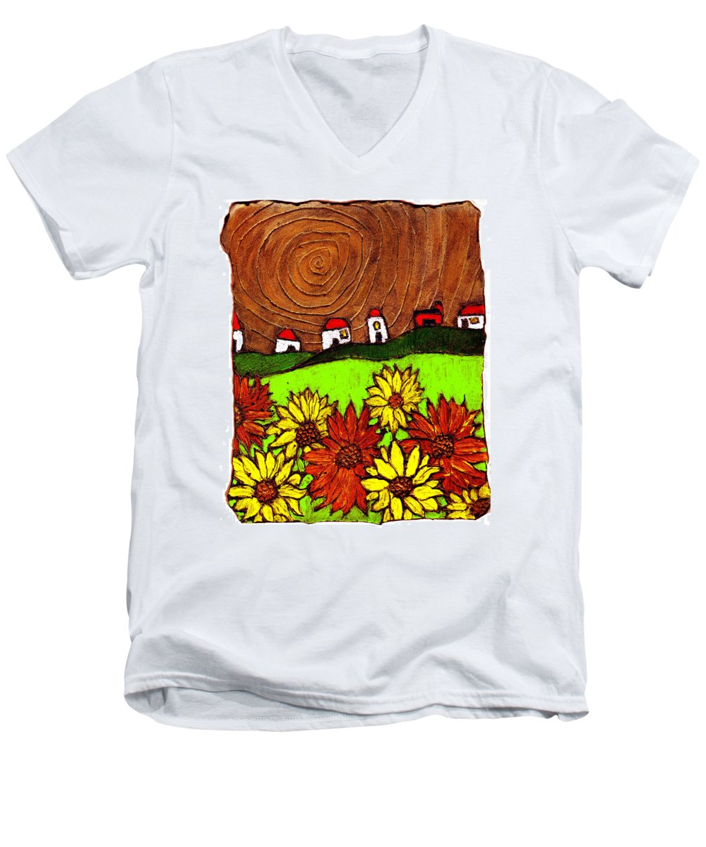 Flowers Men's V-Neck T-Shirt featuring the painting Sunflowers And Fields by Wayne Potrafka