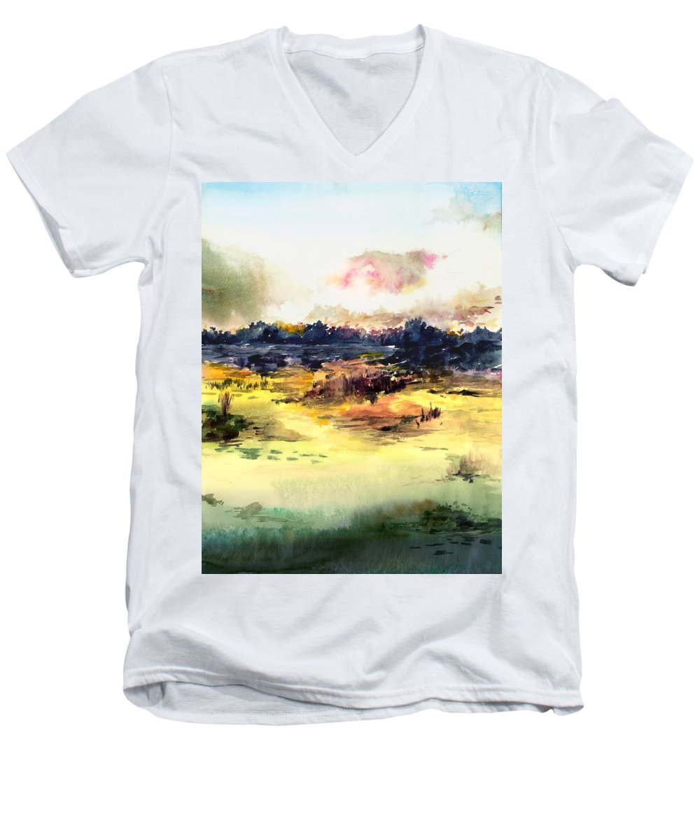 Landscape Water Color Sky Sunrise Water Watercolor Digital Mixed Media Men's V-Neck T-Shirt featuring the painting Sunrise by Anil Nene
