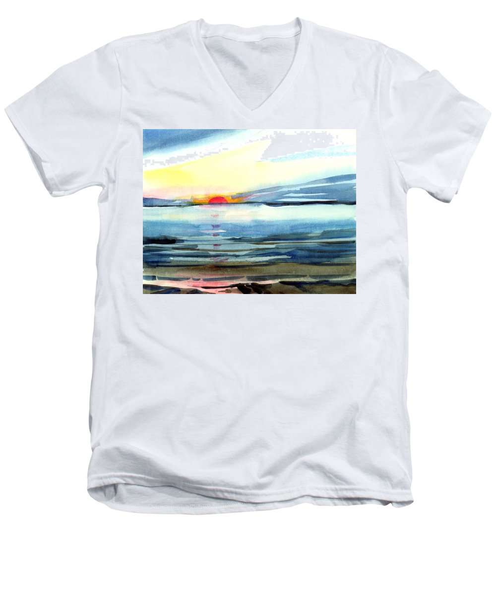 Landscape Seascape Ocean Water Watercolor Sunset Men's V-Neck T-Shirt featuring the painting Sunset by Anil Nene