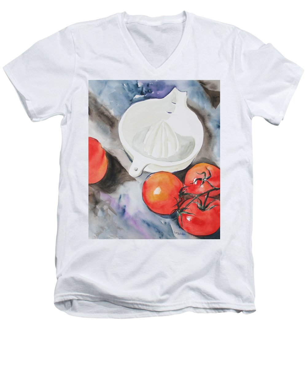 Tomatoes Men's V-Neck T-Shirt featuring the painting Sunshine On The Vine by Jean Blackmer