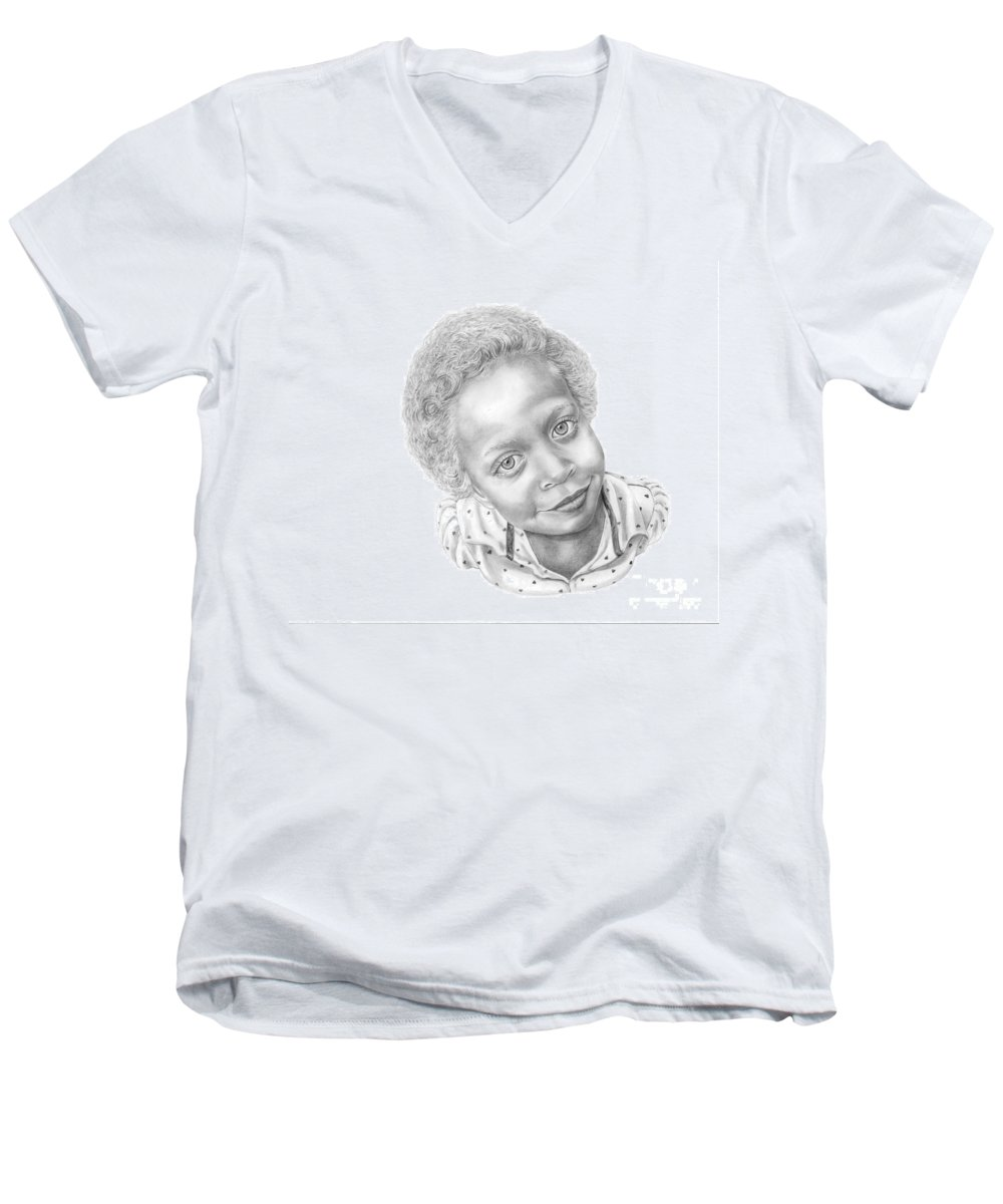 Portrait Men's V-Neck T-Shirt featuring the drawing Sweet Eyes by Murphy Elliott