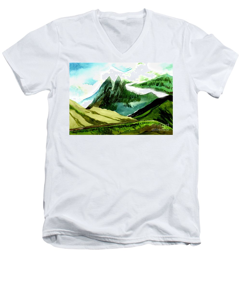 Landscape Men's V-Neck T-Shirt featuring the painting Switzerland by Anil Nene