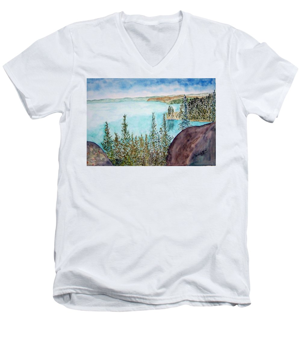 Tahoe Men's V-Neck T-Shirt featuring the painting Tahoe Remembered by Larry Wright